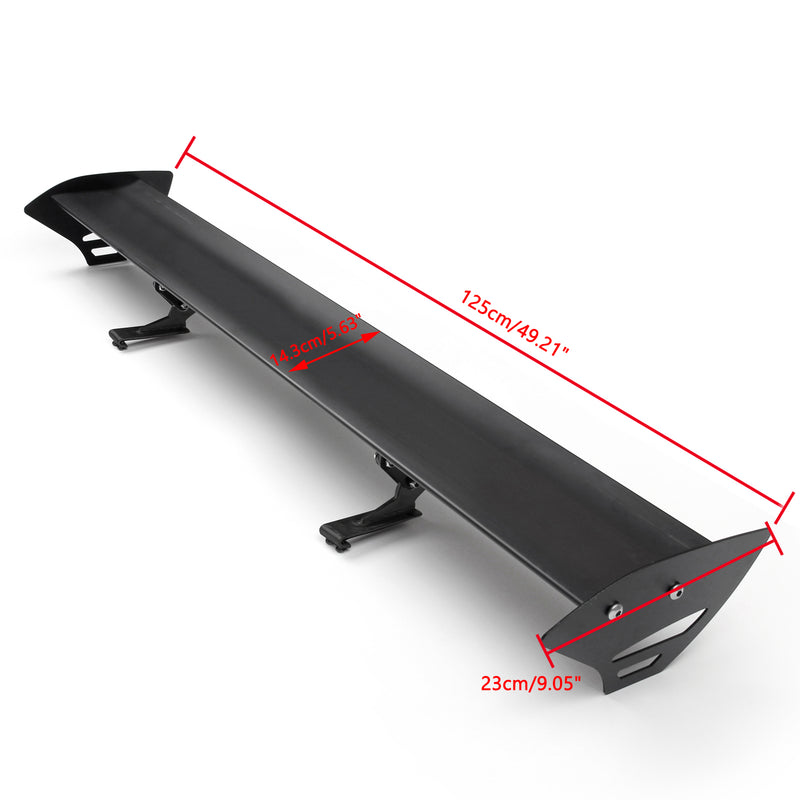 Universal Hatch Aluminum GT Rear Trunk Wing Racing Spoiler Black