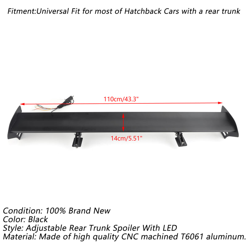Universal Hatch Adjustable Aluminum Rear Trunk Wing Racing Spoiler With LED Generic