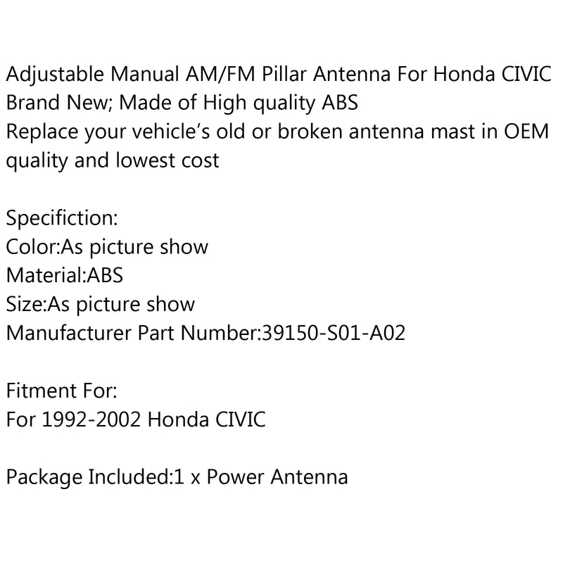 Radio Manual AM/FM Antenna Replacement For Honda CIVIC 1992-2002 Brand NEW Generic