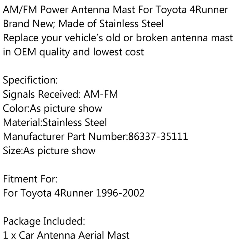 Power Antenna MAST Replacement New Stainless Steel For Toyota 4RUNNER 1996-2002 Generic