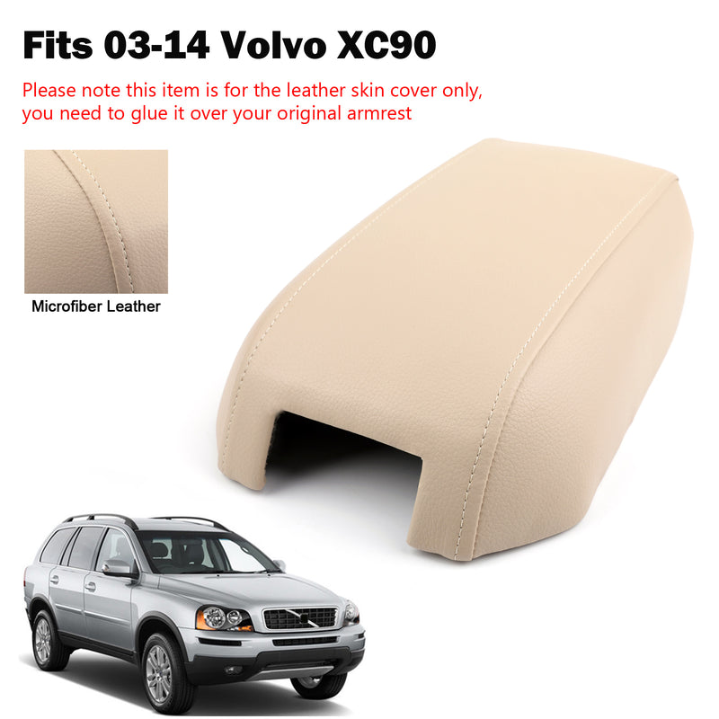 For 03-2014 Volvo XC90 Synthetic Leather Black Center Console Lid Armrest Cover