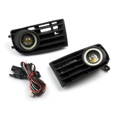 2Pcs Front Angel Eyes Fog Lights + Grille For VW Golf 5 MK5 Rabbit 2003-2009