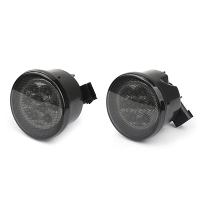 Pair LED Turn Signal W/ Fender Side Light Smoke Lens For 07-2017 Jeep Wrangler