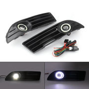 PAIR LED Fog Light Lamp Grille+Wiring Harness Kit Set For VW POLO 2005-2009