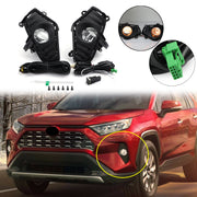 2×é Fog Lights Bumper Driving Lamps w/ Switch + Bezel For Toyota RAV4 2018 2019 2020