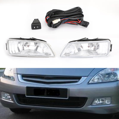 2X Clear Fog Lights w/Wiring+Switch For 03-07 Honda Accord 4DR 04-08 Acura TL