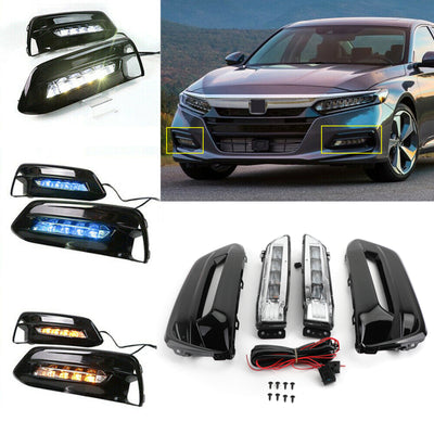 LED Bumper Fog Lights Lamps Bezel w/Wiring Kit For 2018-2019 Honda Accord Sedan