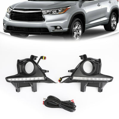 Pair LED Bumper Fog Lights Lamps w/Wiring Kit For 2014-2016 Toyota Highlander