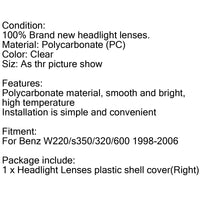 Headlight Lens Shell Plastic Cover Left / Right For 1998-2006 Benz W220 S-Class