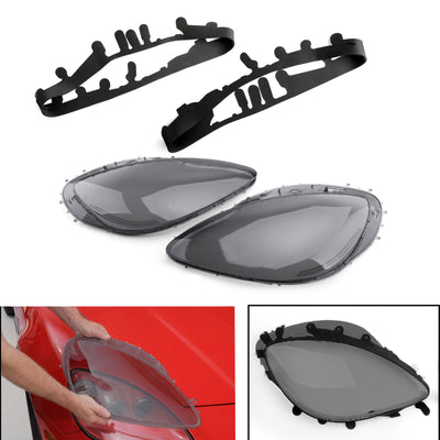 Generic Smoke Headlight Lens Replacement & Black Gaskets Trim Kit For 05-13 C6 Corvette
