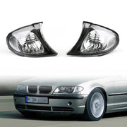 Euro Corner Lights - Crystal Clear W/ Smoke Trim For 02-05 BMW E46 3-Series 4Dr