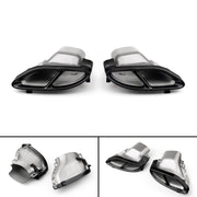 1Pair Car Dual Exhaust Pipes Tail Muffler Tips For Benz W212 2014-2016 BLK