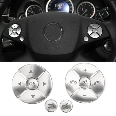 Steering Wheel Button Cover Silver Trim 12pcs For Benz C E S Class W204