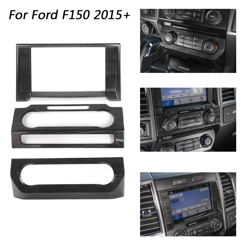 Car Console Center Dashboard Cover Trim Frame Kit For Ford F150 2015-2018 Brown