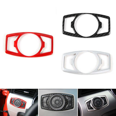 Car Head Light Button Switch Cover Trim ABS For 15 2016 Ford Mustang F150 Carbon
