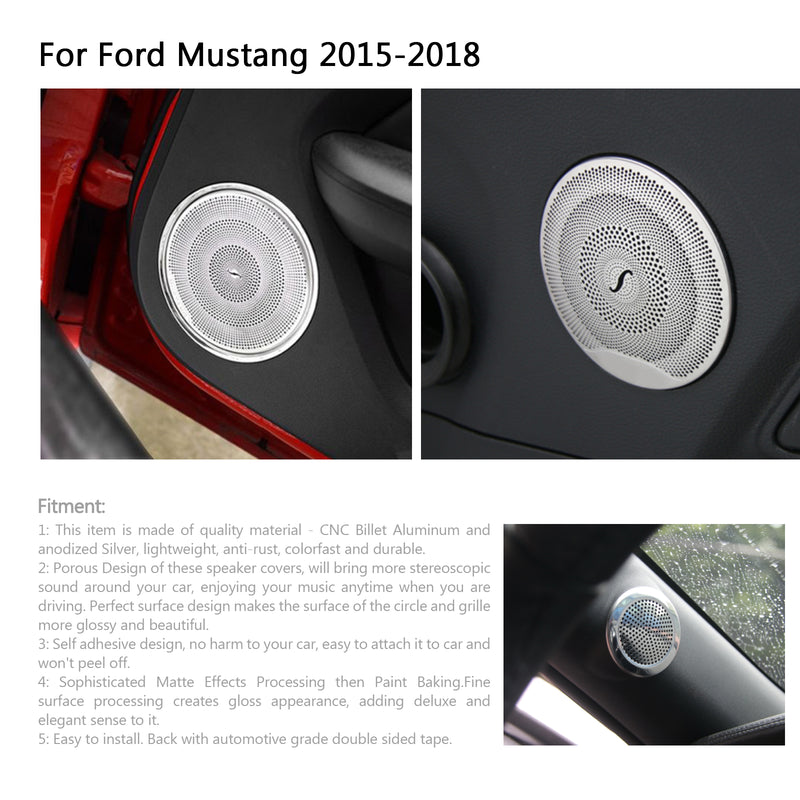6PCS Car Door Speaker Cover A Pillar Speaker Frame Trim For Ford Mustang 15-18 Generic