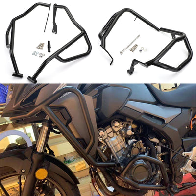 Upper / Lower Crash Bars Black Engine Guard Set For Honda CB500X 2019