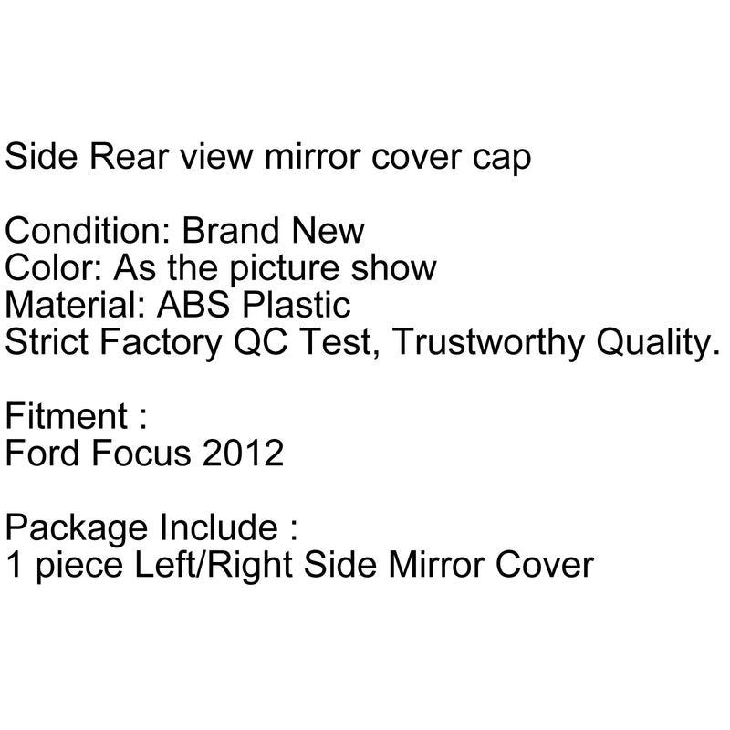 Front Lfet+Right Side Mirror Cover Trim Cap Unpainted For Ford Focus 2012 Generic