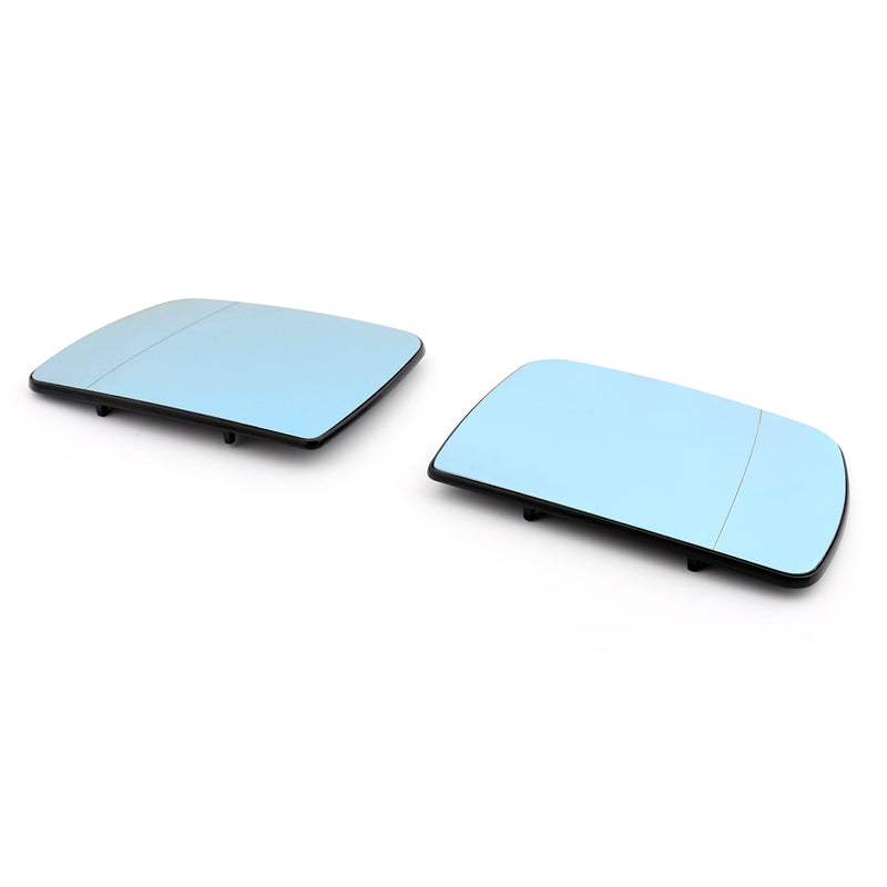 Pair Heated Door Blue Mirror Glass and Backing Plate For 99-2006 BMW X5 E53