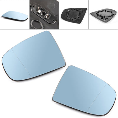 Pair Heated Wing Side Mirror Blue Glass For BMW X5 X6 E70 E71 E72 2008-2014