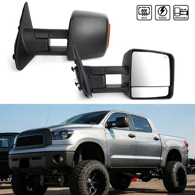 Black Power Heated LED Signal Side Mirrors Pair For 07-17 Toyota Tundra Sequoia