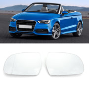 Door Mirror White Glass Heated Pair 8K0857535/6F Fit For Audi A4 B9 13-16