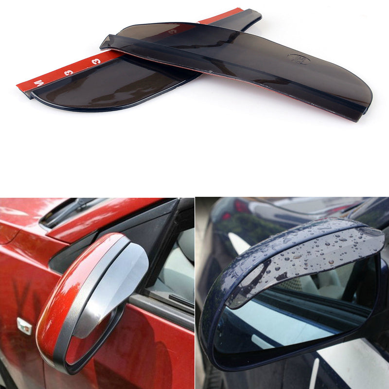 2x Black Rear View Side Mirror Flexible Sun Visor Shade Rain Shield Water Guard