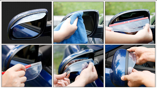 2x Black Rear View Side Mirror Flexible Sun Visor Shade Rain Shield Water Guard Generic