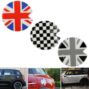 1pcs Black/White Checkered Pattern Vinyl Sticker For Mini Cooper Gas Cap Cover
