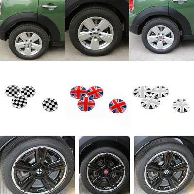 4x Wheel Center Hub Cap Emblem Badge decal Union Jack UK Flag For Mini Cooper