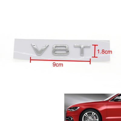 V8T Emblem Badge Fit For AUDI A1 A3 A4 A5 A6 A7 Q3 Q5 Q7 S6 S7 S8 S4 SQ5 Chrome