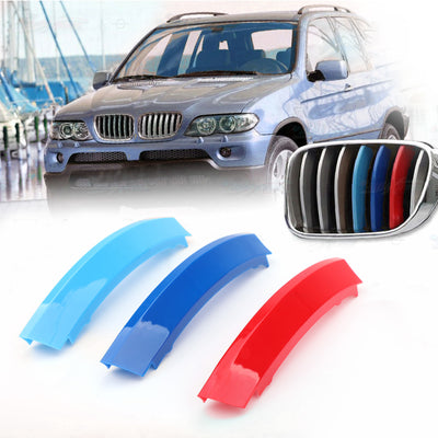 Kidney Grille M Sport 3 Colour Cover Stripe Clips For BMW X5 E53 LCI 2004-2007