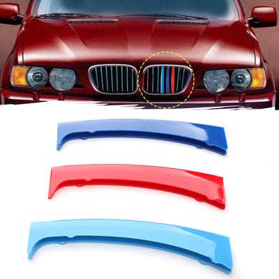 3PCS Front Grille Cover Insert Trim Clips Decal Trip For BMW X5 E53 1999-2003