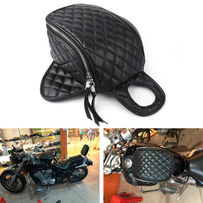Motorcycle Magnetic Diamond PU Leather Oil Fuel Tank Travel Bag For XL883