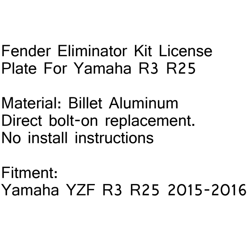 Fender Eliminator Kit License Plate Frame For Yamaha YZF R3 R25 2015-2016 New Generic