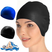 2x Swimming Cap Waterproof Silicone Swim Pool Hat For Adult Men And Women BK+BLU