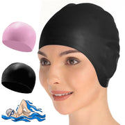 2x Swimming Cap Waterproof Silicone Swim Pool Hat For Adult Men And Women BK+PIN