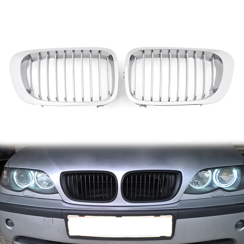 Front Fence Grill Grille ABS Gloss Black Mesh For BMW E46 2D (1999-2002) 3 Series Generic