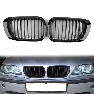Front Fence Grill Grille ABS Gloss Black Mesh For BMW E46 2D 1999-2002 3 Series