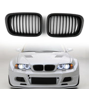 Front Fence Grill Grille ABS Black Mesh For BMW E46 4D 1998-2001 3 Series