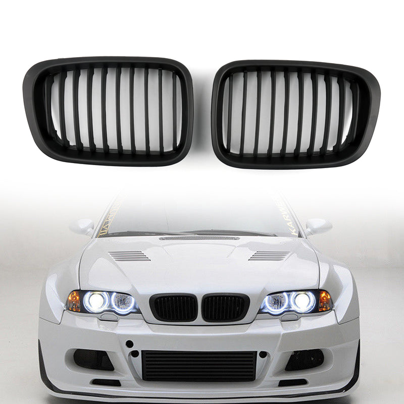 Front Fence Grill Grille ABS Black Mesh For BMW E46 4D (1998-2001) 3 Series
