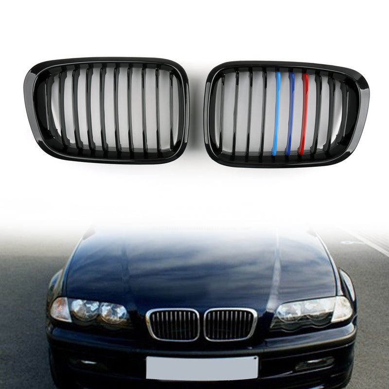 Front Fence Grill Grille ABS Black Mesh For BMW E46 4D (1998-2001) 3 Series Generic