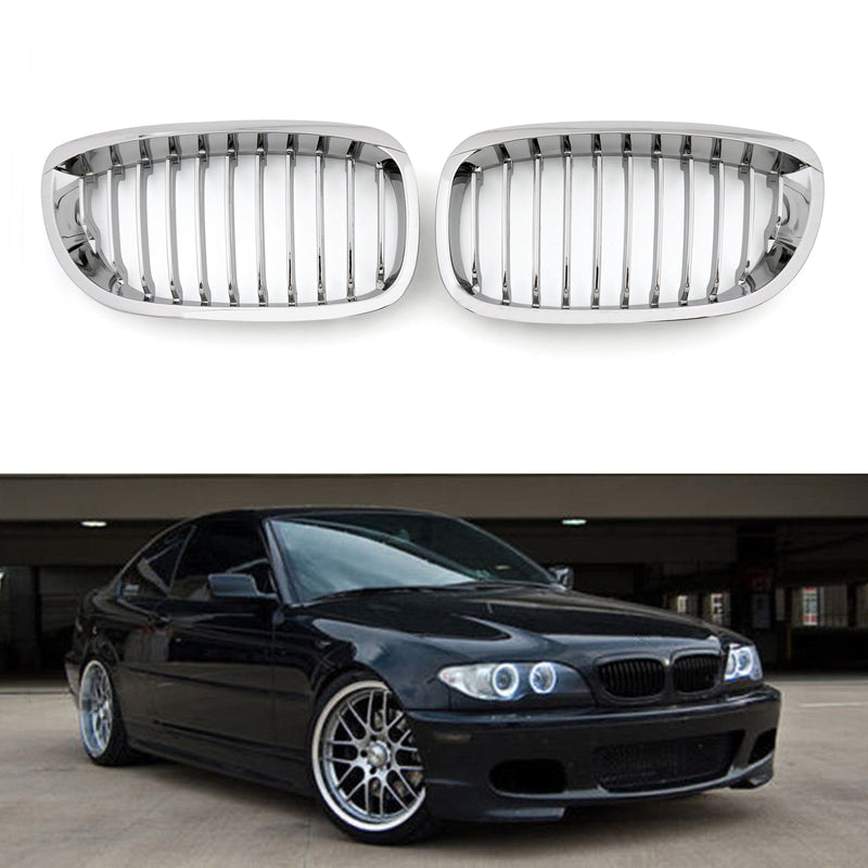 Front Fence Grill Grille ABS Chrome Mesh For BMW E46 2D (2002-2007) 3 Series