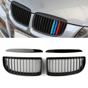 Gloss Black Kidney Grill Mesh Grille Fit For BMW E90 3 Series Sedan 2005-2008