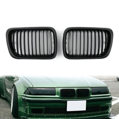Matt Black Front Kidney Grill Mesh Grille For BMW E36 1997-1999 3 Series