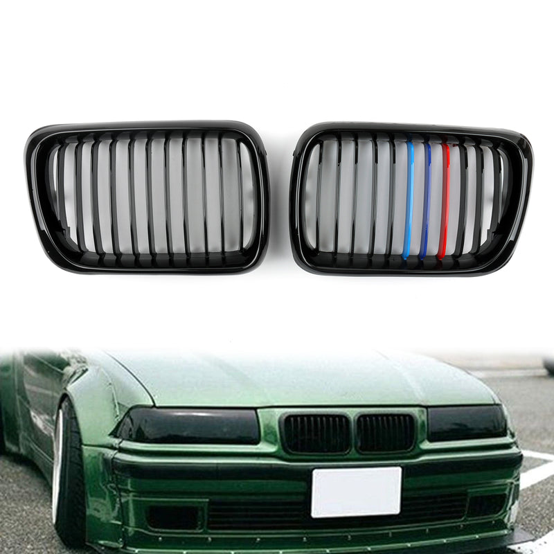 Matt Black Front Kidney Grill Mesh Grille For BMW E36 (1997-1999) Generic