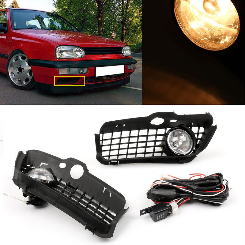Bumper Grille Grill With Driving Fog Lamp Light For VW Golf MK3 (1992-1997)