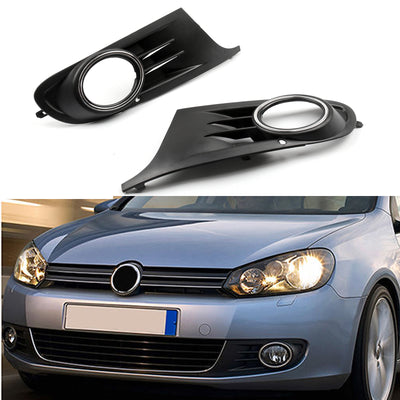 Fog Light Grille Covers Pair For (10-14) VW MK6 Golf/Jetta Sportwagen Open Vent