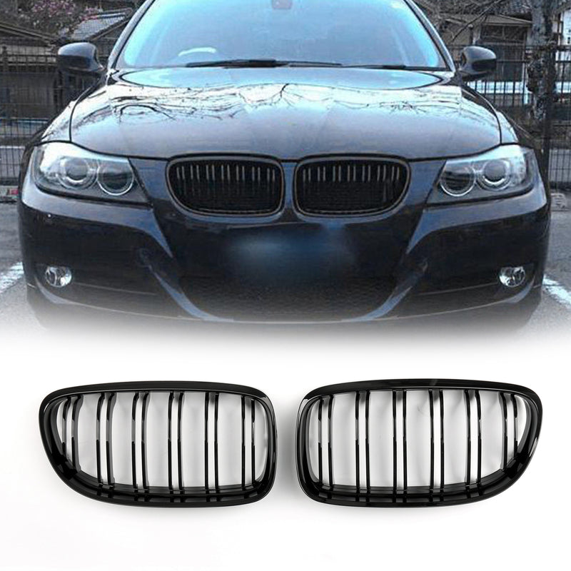 Front Kidney Hood Grilles Gloss Black For BMW E90/E91 LCI 3 Series (2008-2012)