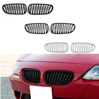 2x Chrome Front Bumper Sport Kidney Grille Grill For BMW Z4 E85 E86 23-28
